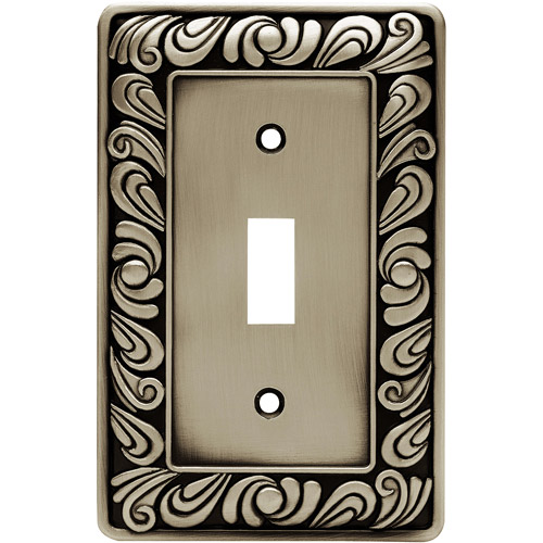 Frankin Brass Paisley Single-Switch Wall Plate, Available in Multiple Colors
