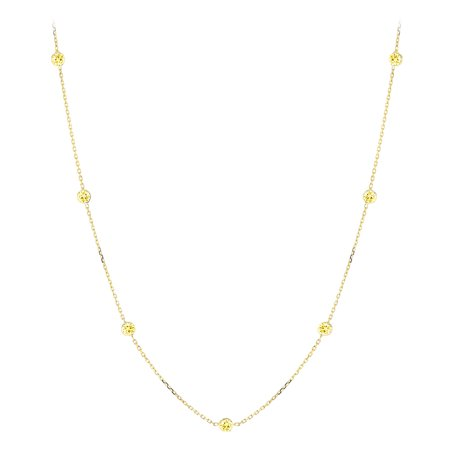 14K Gold Chain Necklace with Yellow Diamonds by the Yard 0.7ctw (Yellow Gold)