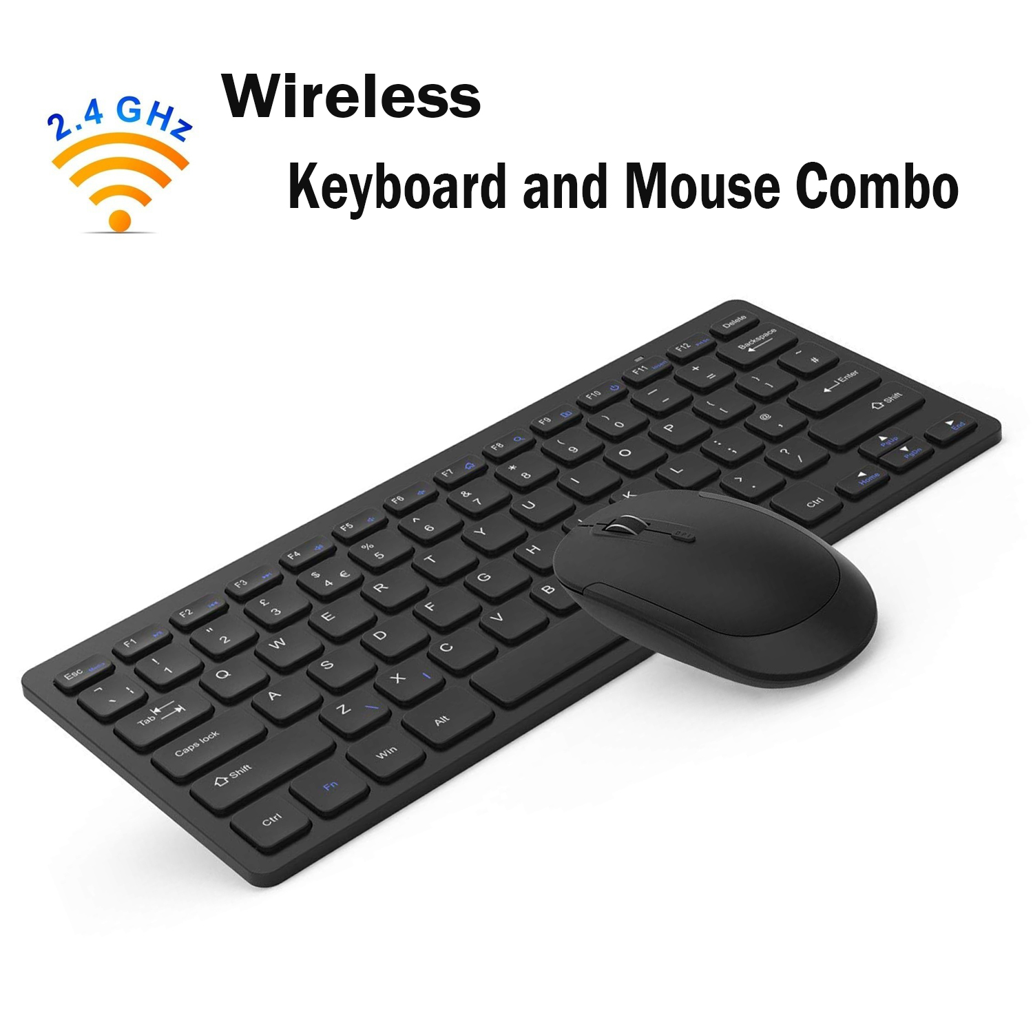 Wireless Keyboard and Mouse Combo, Jelly Comb 2.4GHz Ultra Thin Compact Portable SMALL Wireless Keyboard and Mouse Combo Set for PC, Desktop, Computer, Laptop, Windows XP/Vista / 7/8 / 10 - Black