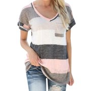 V-neck Women Colorful Striped Short Sleeve Casual T-shirts