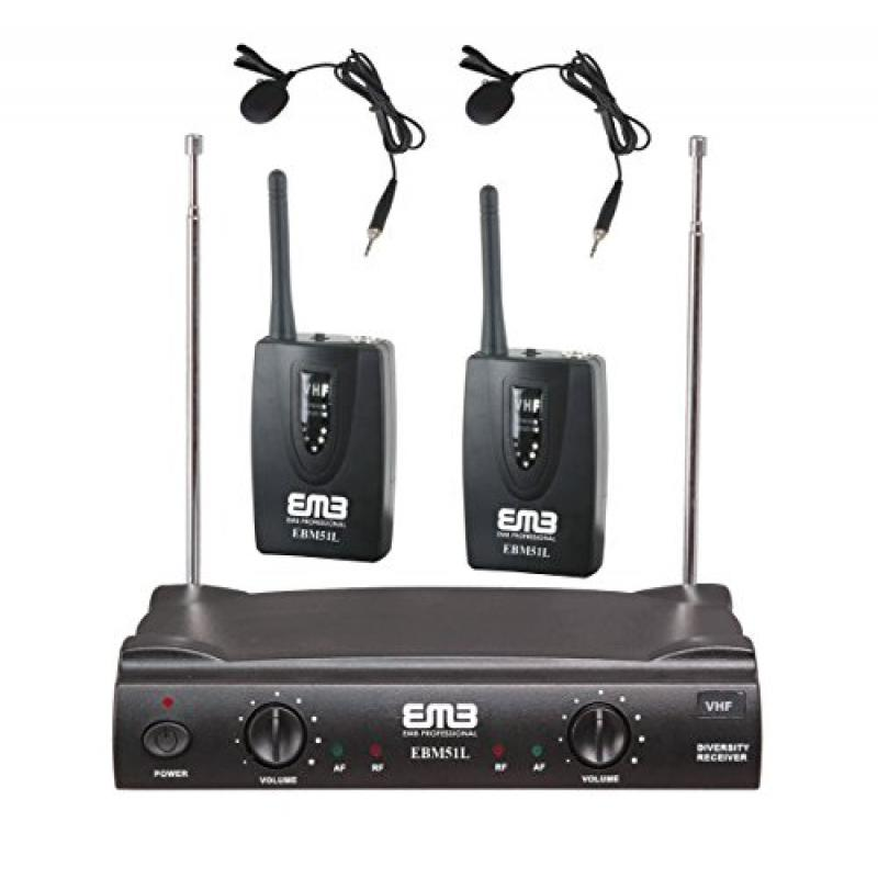 EMB VHF EBM51L Professional Dual Wireless Lavalier Microphone System by