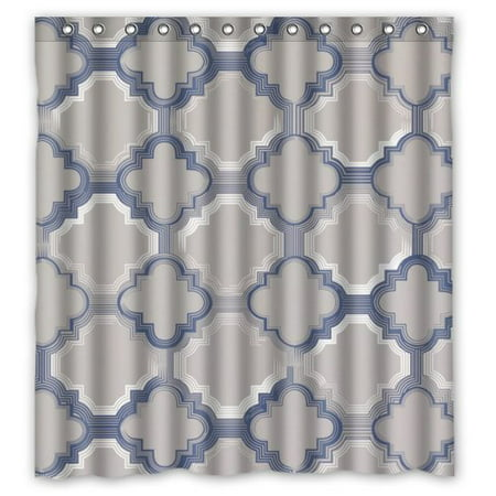 HelloDecor Poster The World Grey And Blue Quatrefoil Shower Curtain Polyester Fabric Bathroom Decorative Size 66x72 Inches