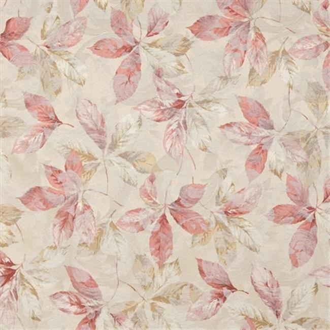 Designer Fabrics F819 54 inch Wide Pink, Gold And White, Floral Leaves Jacquard Woven Upholstery Fabric