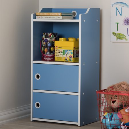 baxton studio 3 tier kids bookshelf with doors blue and. Black Bedroom Furniture Sets. Home Design Ideas