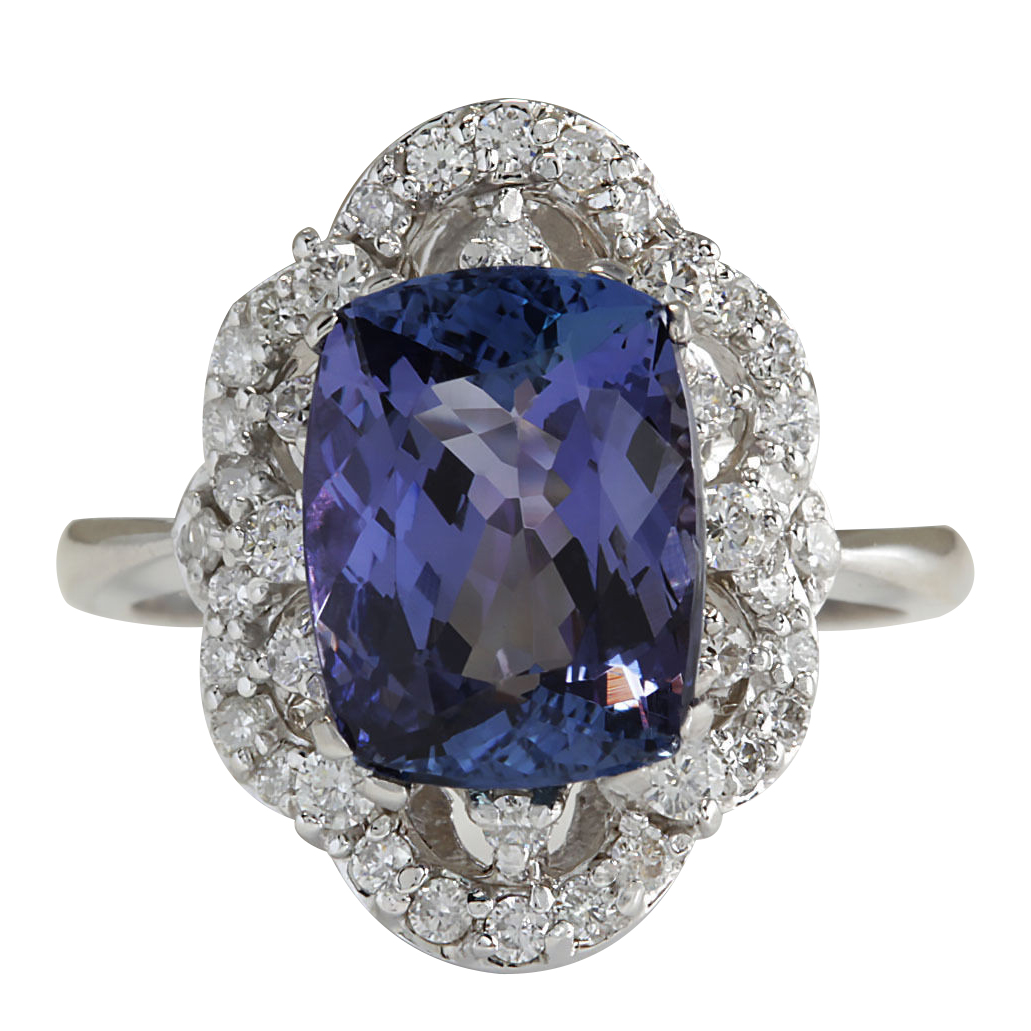 4.75CTW Natural Blue Tanzanite And Diamond Ring 14K Solid White Gold by