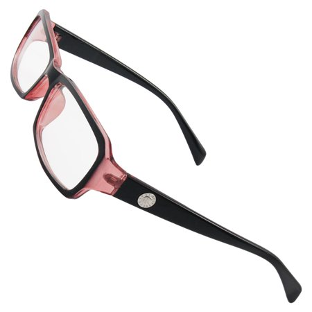 Clear Dark Red Plastic Full Rims MC Lens Plano Eyeglasses for Lady