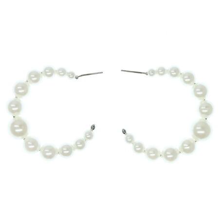 Silver-Tone Hoop Earrings Faux Pearl Bead Accents For Women TME319