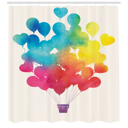 Watercolor Shower Curtain Hot Air Balloon Rainbow Colors Cute Heart Shapes Cheerful Hy Fabric Bathroom Set With Hooks Sky Blue Yellow Pink Red