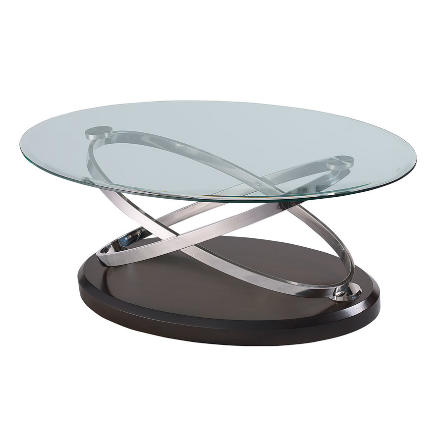 Emerald Home Vision Oval Cocktail Table W Glass Top Brown T7112-0 by Supplier Generic