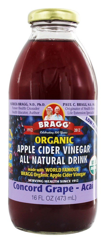 Bragg Organic Apple Cider Vinegar All Natural Drink Concord Grape 16 oz(pack of 3) by