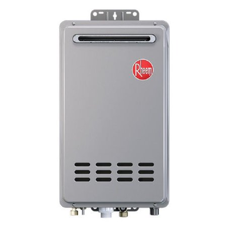 Rheem Rtg 64Xln 1 Outdoor Natural Gas Low Nox Tankless Water Heater For 1   2 Bathroom Homes