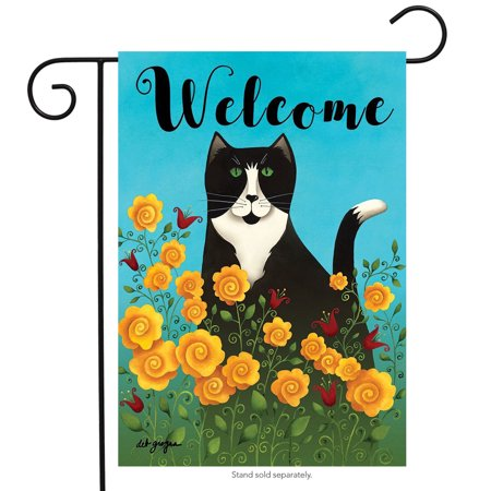 Primitive Spring - Garden Kitty Spring Garden Flag Welcome Primitive Floral 12.5