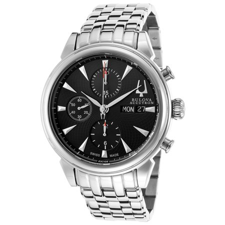 Accutron by Bulova Men's Gemini Automatic Chronograph Silver-Tone Steel Black Dial
