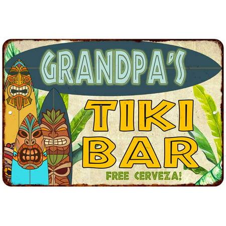 Grandpa's TIKI BAR Island Personalized Sign Metal Wall Decor 8 x 12 High Gloss Metal 208120058003 - Tiki Bar Signs