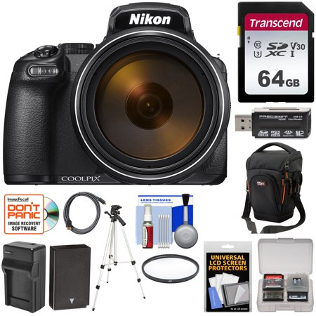 Nikon Coolpix P1000 4K 125x Super Zoom Digital Camera with 64GB Card + Battery + Charger + Case + Tripod + Filter