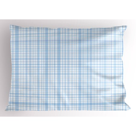 Seafoam Pillow Sham Plaid Quilt Pattern with Squares and Lines Abstract Traditional Arrangement, Decorative Standard Size Printed Pillowcase, 26 X 20 Inches, Baby Blue White, by Ambesonne (Plaid Quilt Patterns)