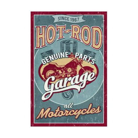 Hot Rod Garage - Motorcycles - Vintage Sign Print Wall Art By Lantern (Vintage Hot Rod Art)
