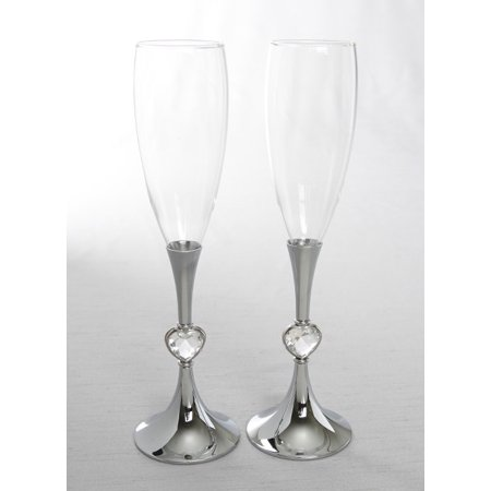 Beverly Clark Silver Stem w/Crystal Hearts Toasting - Beverly Clark Toasting Flutes
