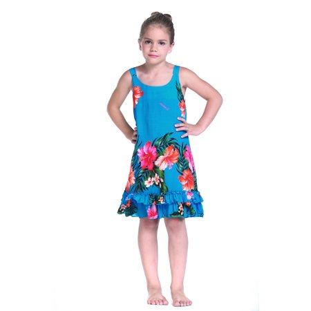 Girl Tank Ruffle Hawaiian Luau Dress in Turquoise 1-2