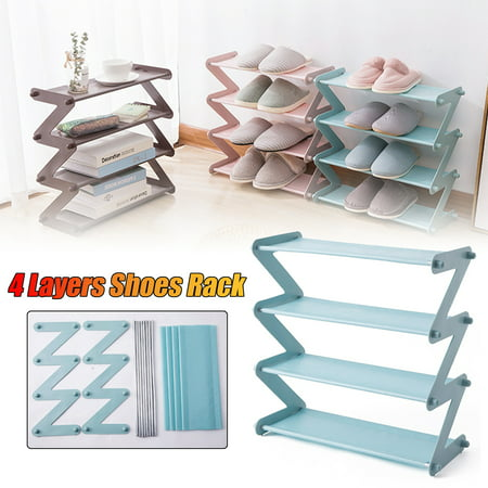 """4 Layers Shoes Rack Tower Shelf Storage Organizer Holder Stand Non-woven Fabric 18.7""""x7.4""""x18.1"""" - image 1 de 5"""