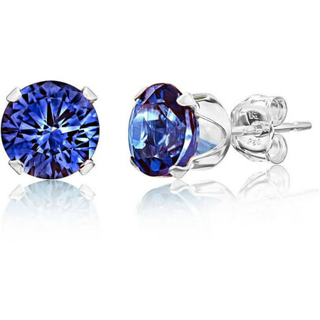 Round London Blue Topaz Gemstone Sterling Silver Stud Earrings
