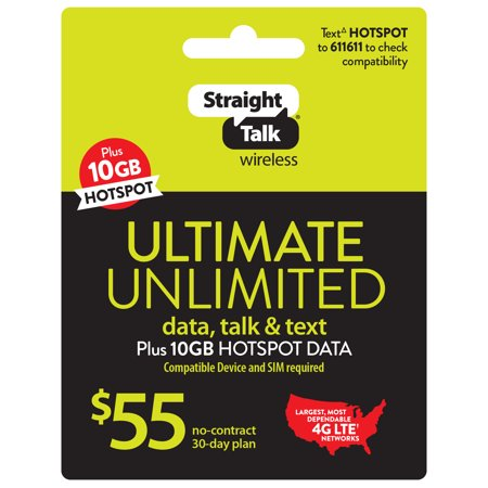 Straight Talk $55 ULTIMATE UNLIMITED 30-Day Plan & 10GB of mobile hotspot (Email