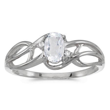 10k White Gold Oval White Topaz And Diamond Curve Ring