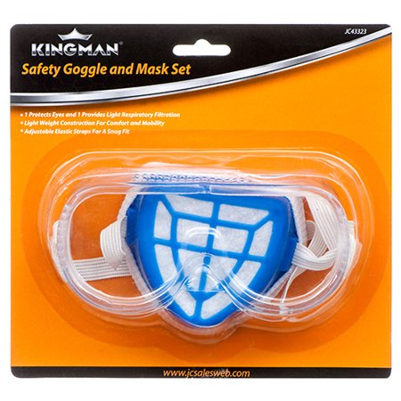 New 315084  Kingman Safety Goggle & Mask Set (24-Pack) Tool Kit Cheap Wholesale Discount Bulk Hardware Tool (Wholesale Goggles)