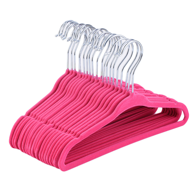 Hot 20pcs Non-Slip Kids Children Child Baby Coat Clothes Hangers Velvet Flocking New with pink color
