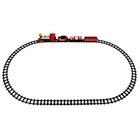 Jupiter Locomotive 14 Piece Battery Operated Toy Train Set W  Realistic Smoke  Sounds  4 Train Cars  6 Curved  4 Straight Tracks