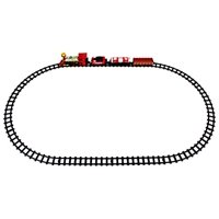 Jupiter Locomotive 14 Piece Battery Operated Toy Train Set w/ Realistic Smoke, Sounds, 4 Train Cars, 6 Curved, 4 Straight Tracks