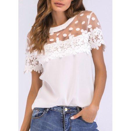 Women Chiffon Blouse Sheer Mesh Floral Crochet Lace Polka Dot Short Sleeve Elegant Solid Tops White - image 4 de 7