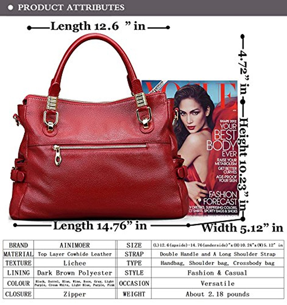a462874065a5 AINIMOER - AINIMOER Womens Genuine Leather Vintage Tote Shoulder Bag Top- handle Crossbody Handbags Large Capacity Ladies  Purse - Walmart.com