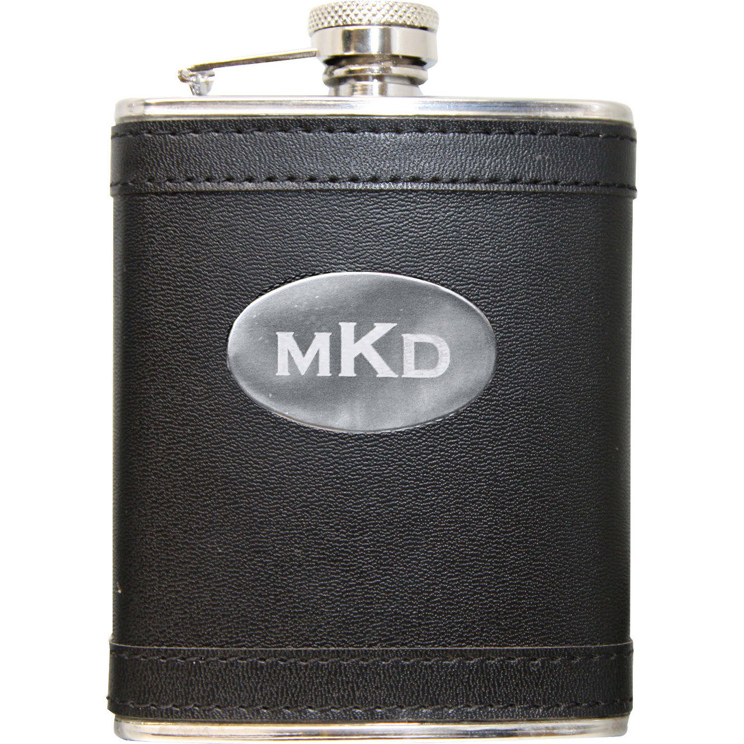Personalized Leather Wrapped Flask, Available in 3 Colors