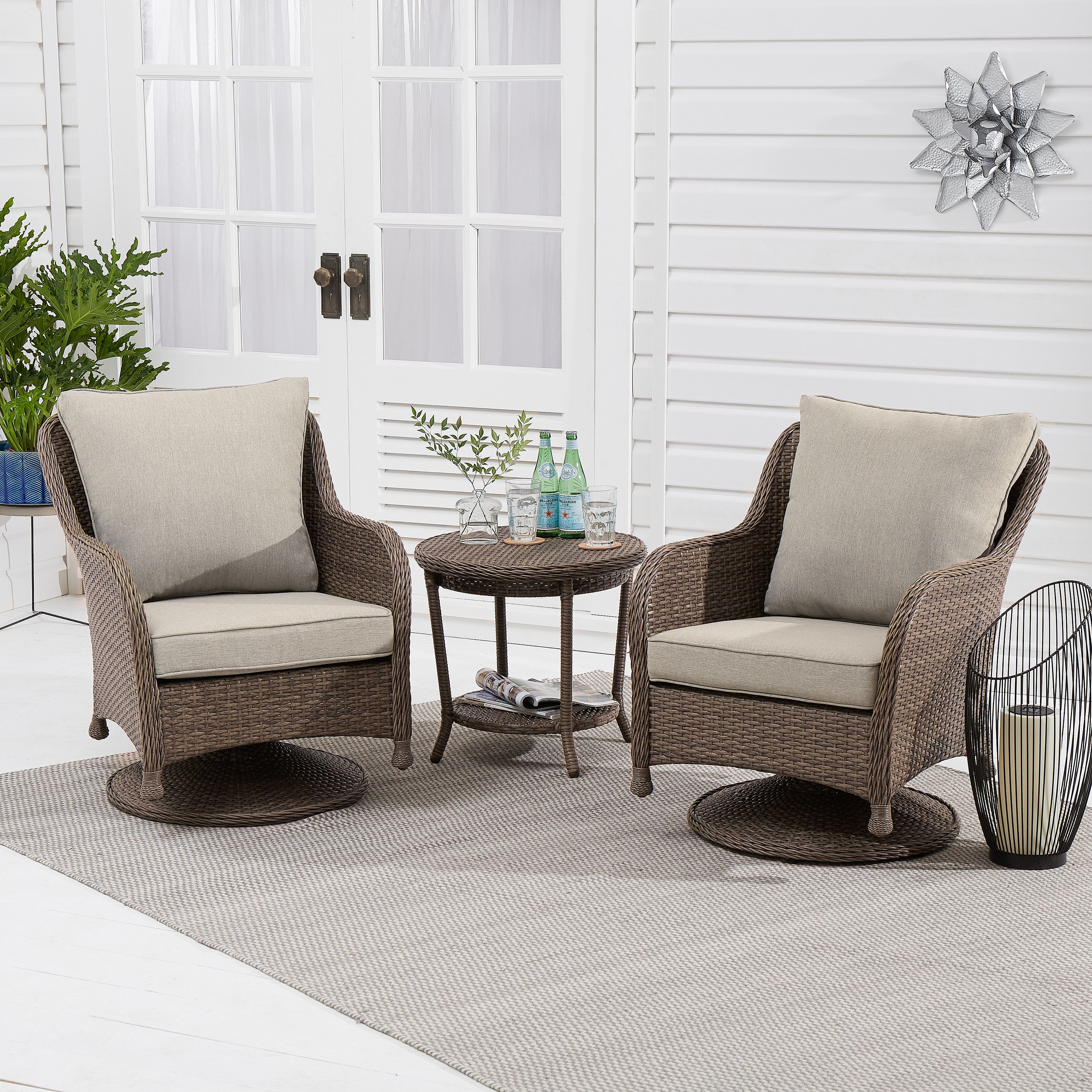 Better Homes & Gardens Hayward 3-Piece Wicker Motion Patio Chat Set