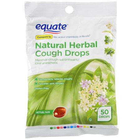 Equate Natural Herbal Cough Drops, Menthol, 50 Ct