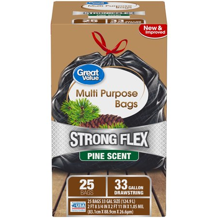 Great Value Strong Flex Multi-Purpose Drawstring Trash Bags, Pine Scent, 33 Gallon, 25 Count ()