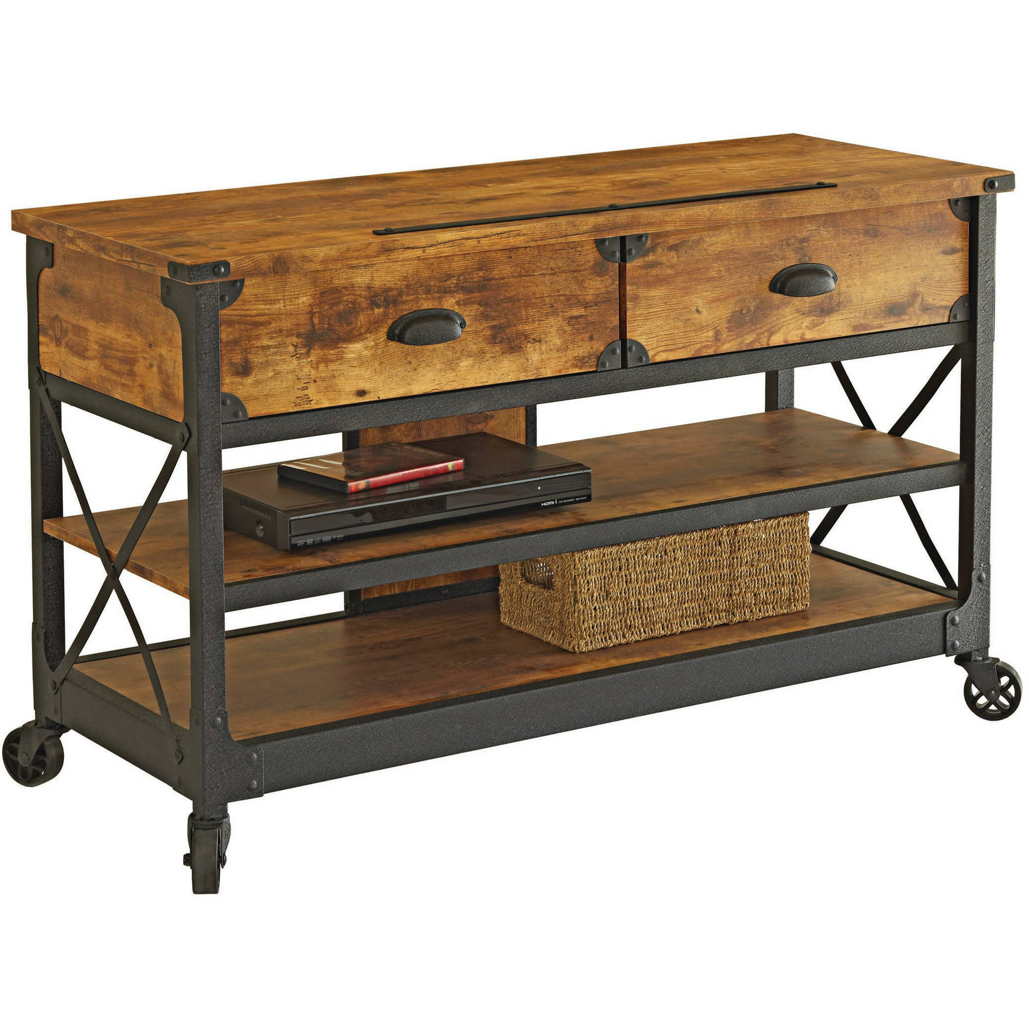 """Better Homes & Gardens Rustic Country TV Stand for TVs up to 52"""", Antiqued Black/Pine Finish"""