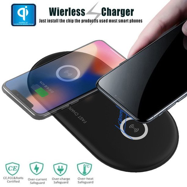 Dual Wireless Charger, 2 in 1 Qi Wireless Fast Charging Pad Station for iPhone X/8/8 Plus, 10W Fast Charging for Samsung Galaxy S9/S9+/Note 8/Note 5/S8/S8+/S7/S7 Edge/S6 Edge (Black)