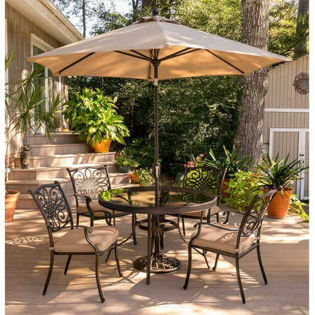Hanover Outdoor Traditions 5-Piece Glass-Top Dining Set with Stationary  Chairs and Umbrella with Stand