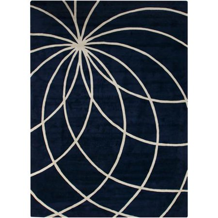 9' x 12' Plasma Elektra Antique White and Dark Blue Hand Woven Wool Area Rug