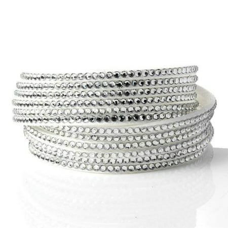 Fashionable Multilayers Rhinestones Cuff Wrap Faux Leather Bracelet For Women - White Glow Bracelets