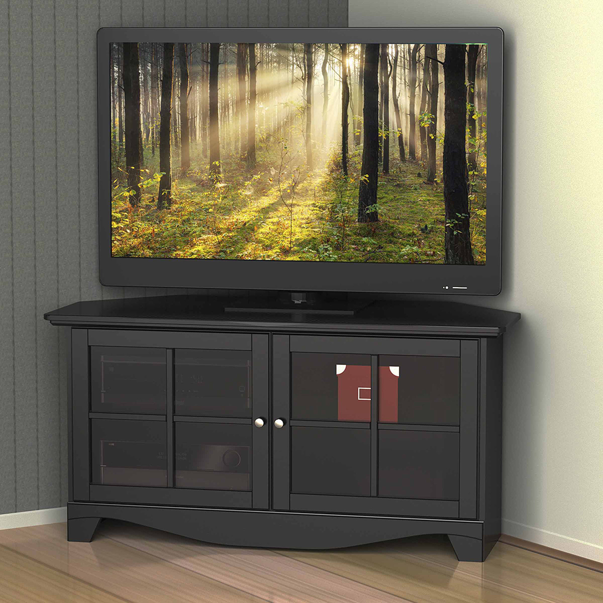 black corner tv stand Nexera Pinnacle Black 2 Door Corner TV Stand for TVs up to 49  black corner tv stand