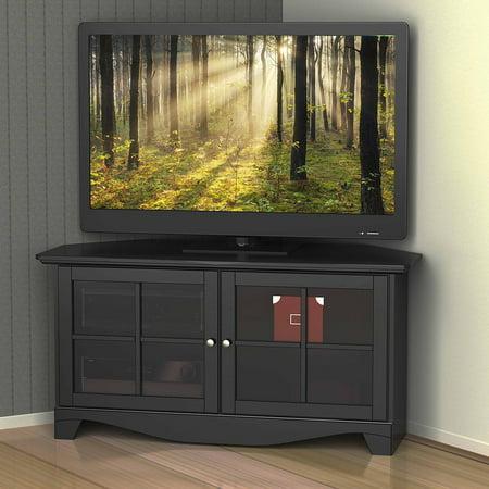 Nexera Pinnacle Black 2-Door Corner TV Stand for TVs up to 49″