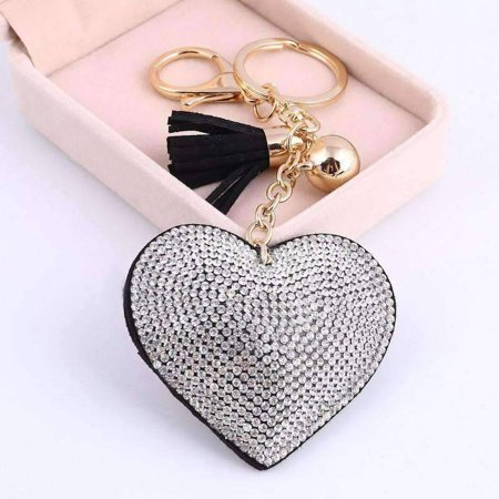 Puffed Heart Crystal Purse Charm Keychain - In Five Colors Black