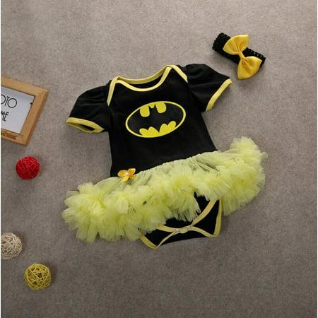 XIAXAIXU Newborn Infant Baby Girl Batman Romper Bodysuit Dress Clothes Headband Outfits 0-12Months