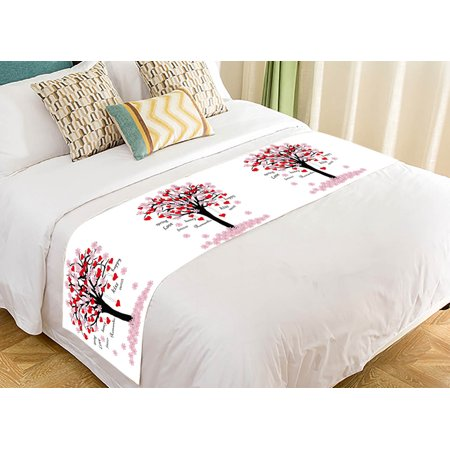 YKCG Spring Tree of Love Pink Red Valentine's Day Bed Runner Bedding Scarf  Size 20x95 inches