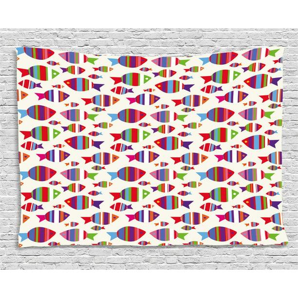 Kids Tapestry, Underwater Aquarium Inspired Pattern with ...