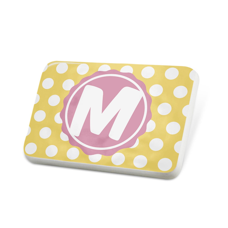 Porcelein Pin Monogram M Yellow Polka Dots Lapel Badge – NEONBLOND