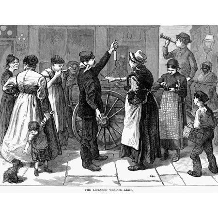 Fish Vendor 1874 Na Vendor Selling Fish For Lent Wood Engraving American 1874 Rolled Canvas Art -  (24 x